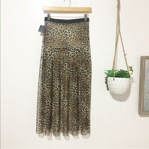 New / leopard print mash sheer long skirt